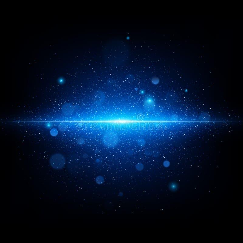 Blauwe abstracte flits in diepe blauwe ruimte Realistische sterrige hemel met een blauwe gloed Eps 10 royalty-vrije illustratie
