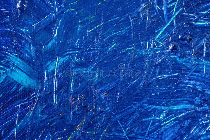 Blauwe abstracte hand geschilderde canvasachtergrond, textuur Kleurrijke geweven achtergrond stock foto
