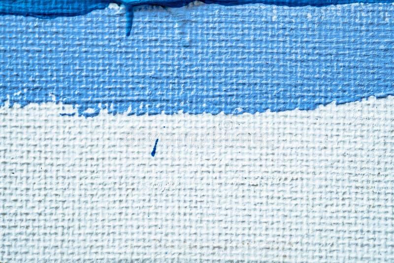 Blauwe abstracte hand geschilderde canvasachtergrond, textuur Kleurrijke geweven achtergrond royalty-vrije stock foto's