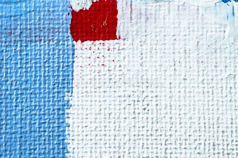 Blauwe abstracte hand geschilderde canvasachtergrond, textuur Kleurrijke geweven achtergrond stock fotografie