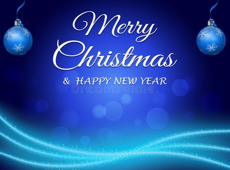 Blauwe abstracte Kerstmisachtergrond royalty-vrije illustratie