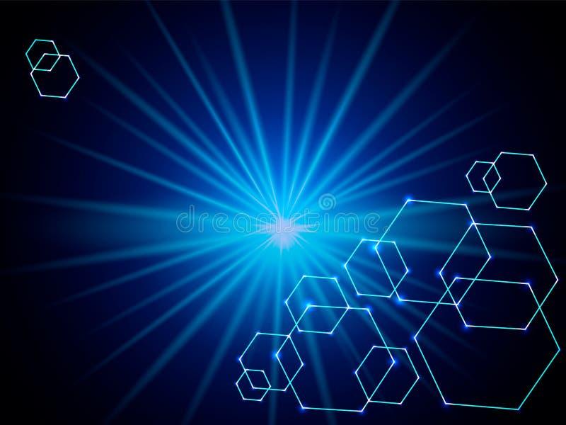 Blauwe abstracte moleculaire verbinding Vector illustratie stock illustratie