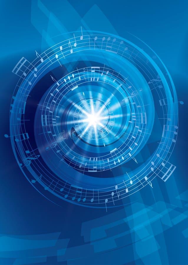 Blauwe abstracte muziek vectorachtergrond - vlieger stock illustratie
