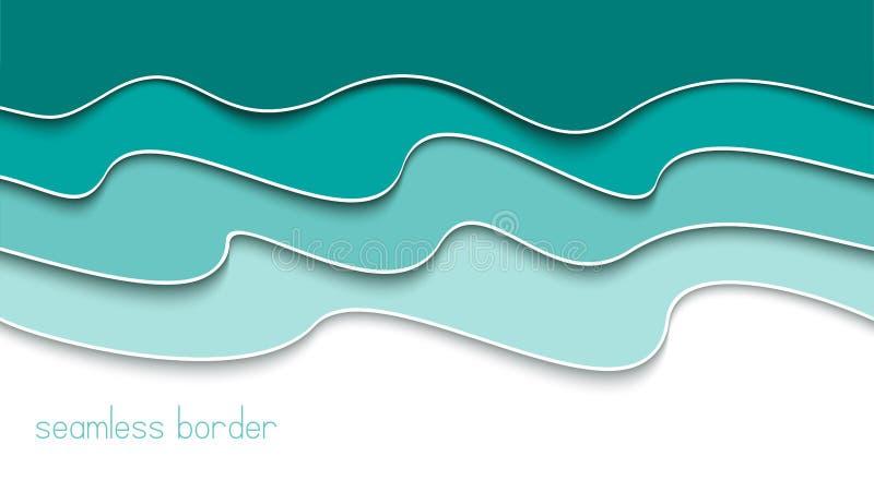 Blauwe abstracte naadloze golvende grens bannermalplaatje Zwart-wit achtergrond Bannerconcept Document besnoeiings overzeese golv royalty-vrije illustratie