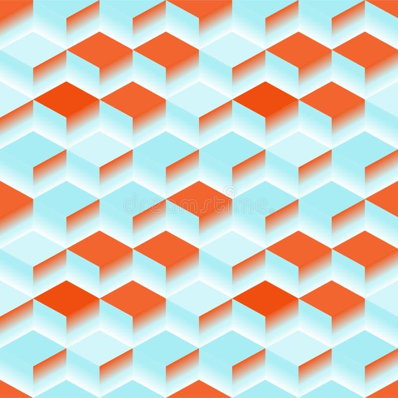Blauwe Abstracte Textuur Vector 3d kubus als achtergrond stock illustratie