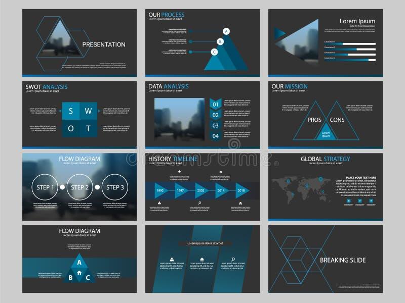 Blauwe Abstracte van het de Brochureontwerp van het Cirkel jaarverslag het malplaatjevector Affiche van het bedrijfsvliegers de i stock illustratie