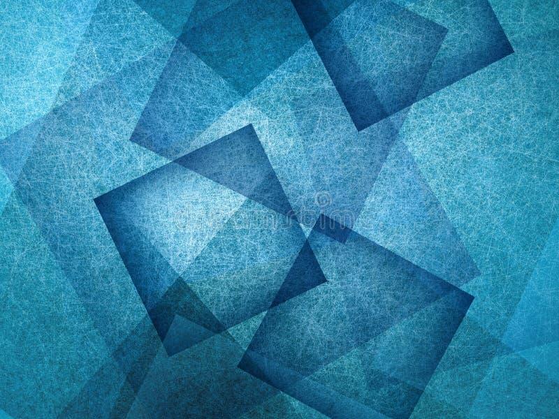 Blauwe achtergrond met absract blauwe vierkanten in willekeurig geklets, geometrische achtergrond royalty-vrije illustratie