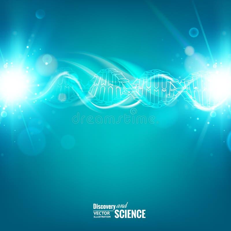Blauwe achtergrond met DNA royalty-vrije illustratie