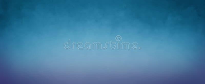 Blauwe achtergrond met donkere hoogste grens en de vage purpere textuur van de bodemgrens in gradiëntontwerp vector illustratie