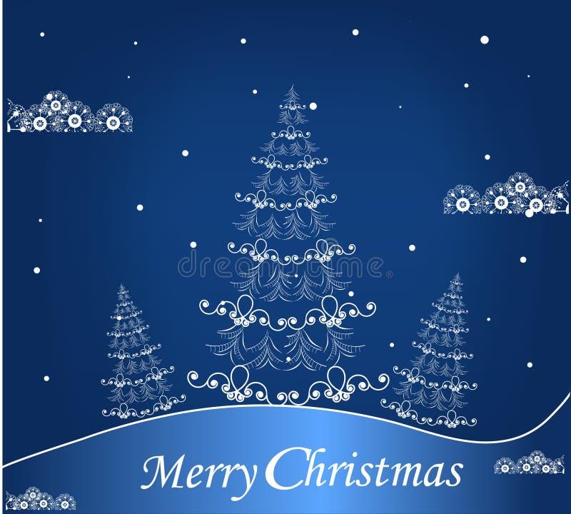 Blauwe achtergrond met een Kerstboom royalty-vrije illustratie