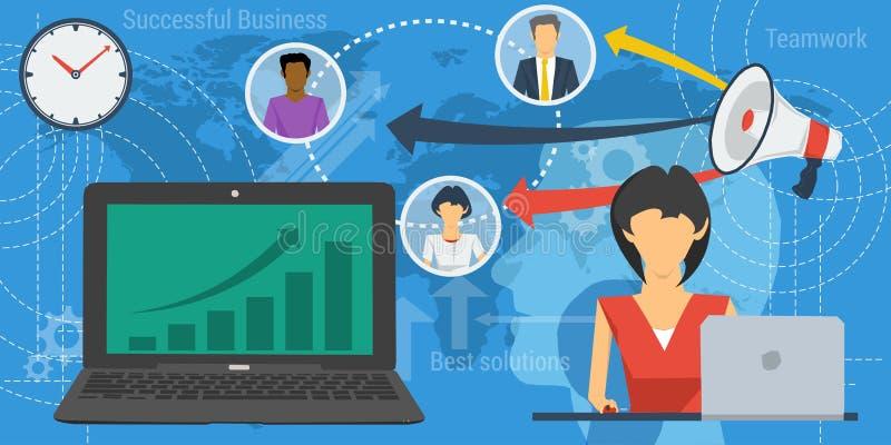 Blauwe achtergrond met het concept van het teamwerk vector illustratie
