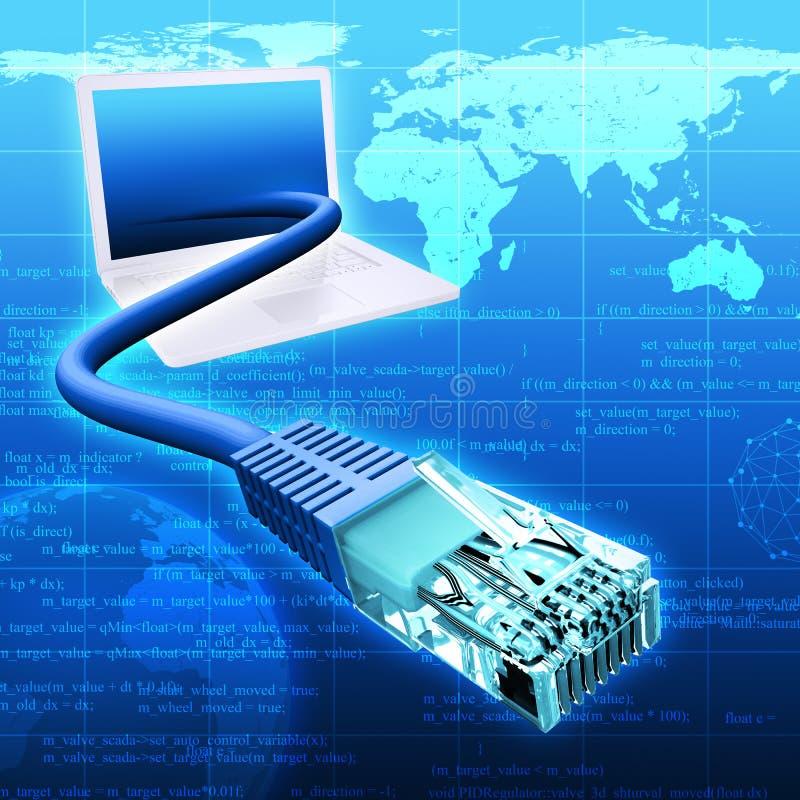 Blauwe achtergrond met laptop stock illustratie