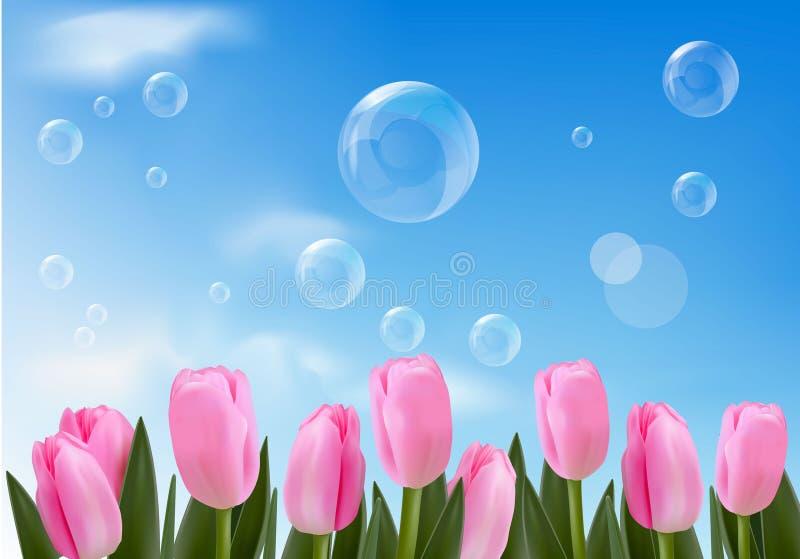Blauwe achtergrond met realistische bellen en bloemen vector illustratie