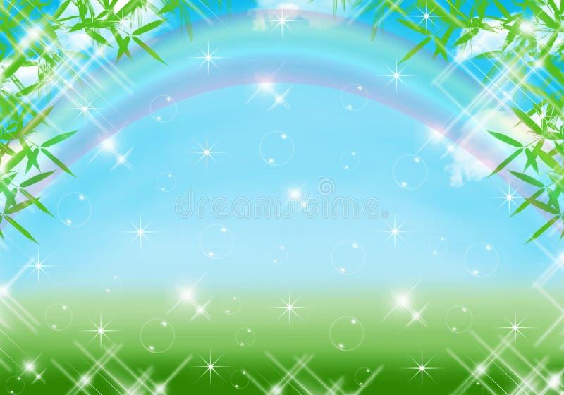 Blauwe achtergrond met regenboog stock foto