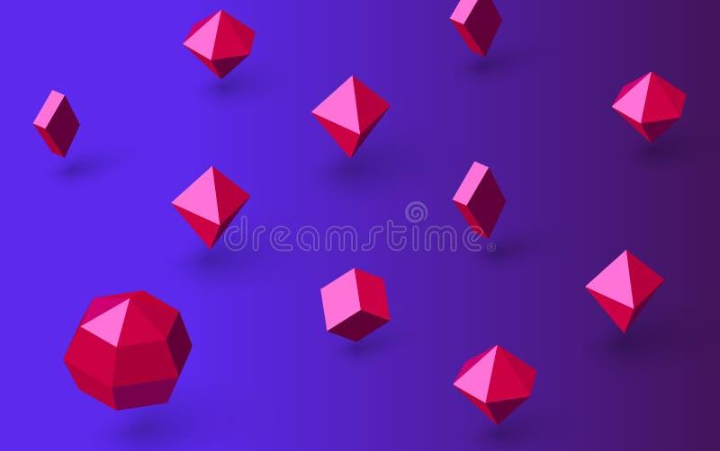 Blauwe achtergrond met roze 3d geometrische cijfers royalty-vrije illustratie