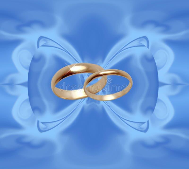 Blauwe achtergrond met trouwringen vector illustratie