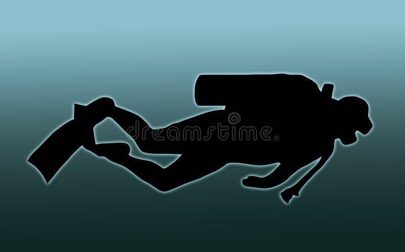 Blauwe AchterScuba-duiker stock illustratie