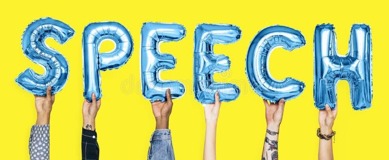 Blauwe alfabetballons die de woordtoespraak vormen royalty-vrije stock fotografie