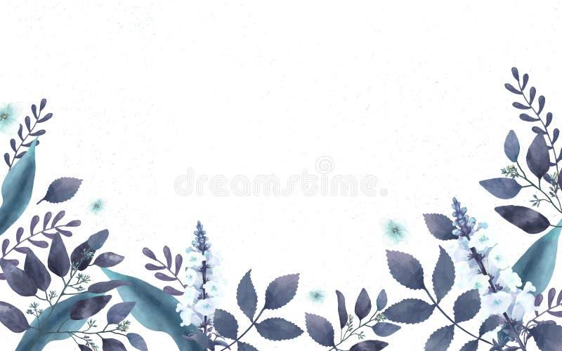 Blauwe als thema gehade groetenkaart met miniatuurbladeren stock illustratie