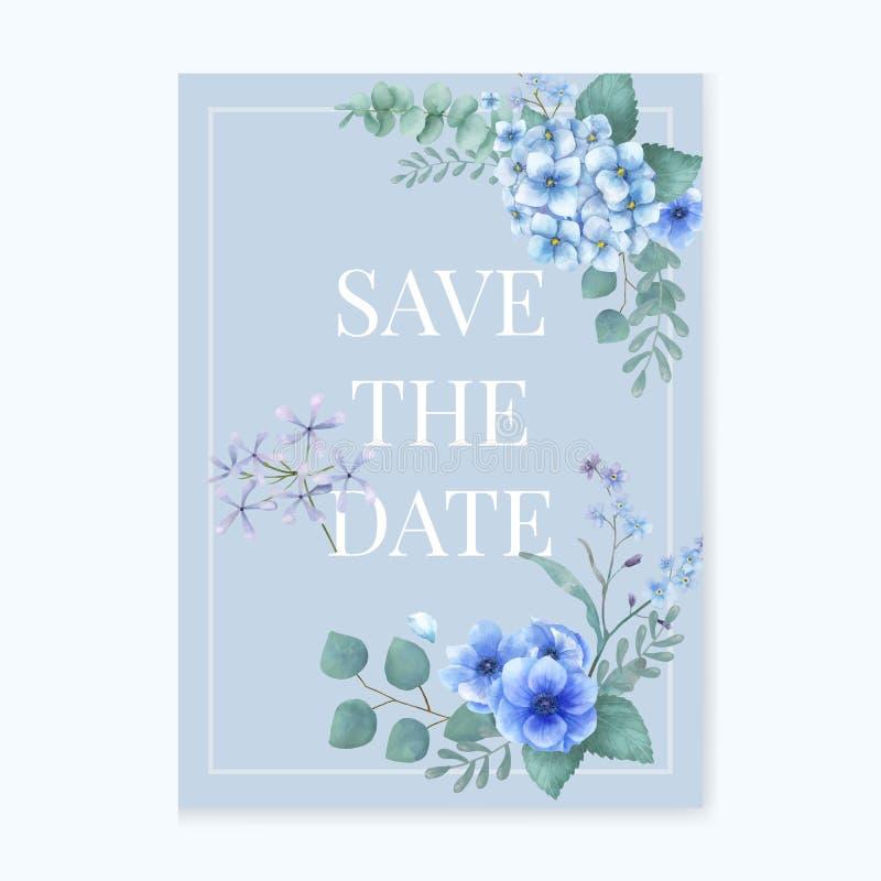 Blauwe als thema gehade groetenkaart met miniatuurbladeren vector illustratie