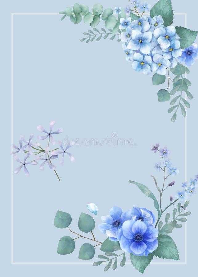 Blauwe als thema gehade groetenkaart met miniatuurbladeren royalty-vrije illustratie