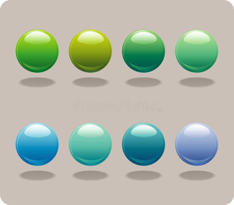 Blauwe & Groene Orbs royalty-vrije illustratie