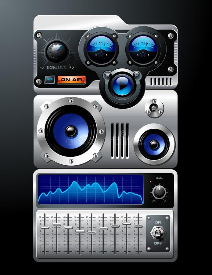 Blauwe Analoge MP3 Speler stock illustratie