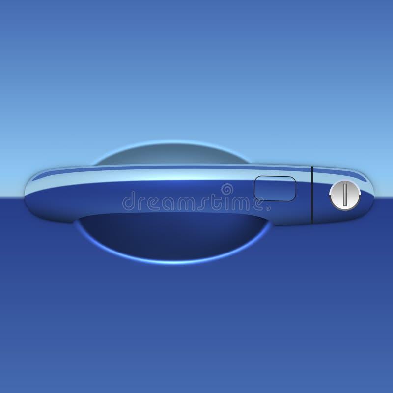 Blauwe auto buiten de illustratie van het deurhandvat stock illustratie