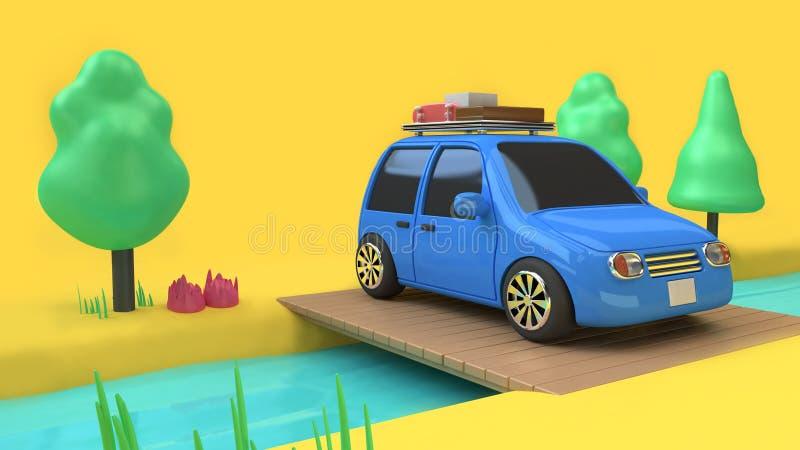Blauwe auto eco-familie autostijl met voorwerp op houten brug over stroom en vele boomaard, het concept 3d teruggevend c van de r vector illustratie