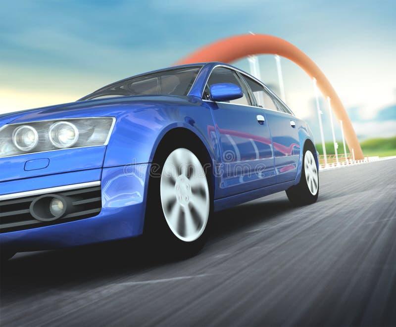 Blauwe auto in het wegasfalt royalty-vrije stock foto
