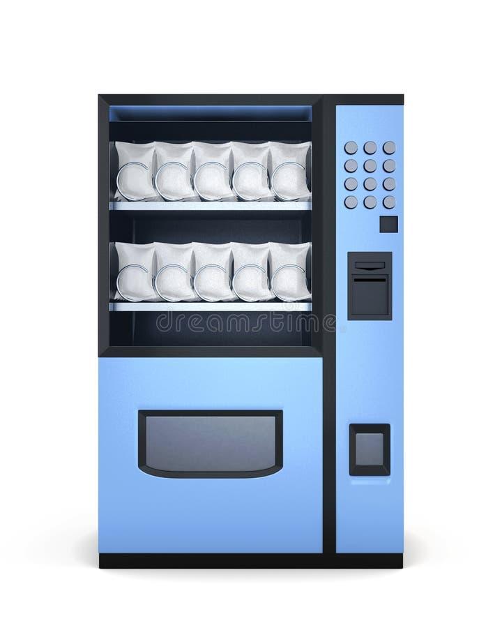 Blauwe automaten op witte achtergrond het 3d teruggeven stock illustratie
