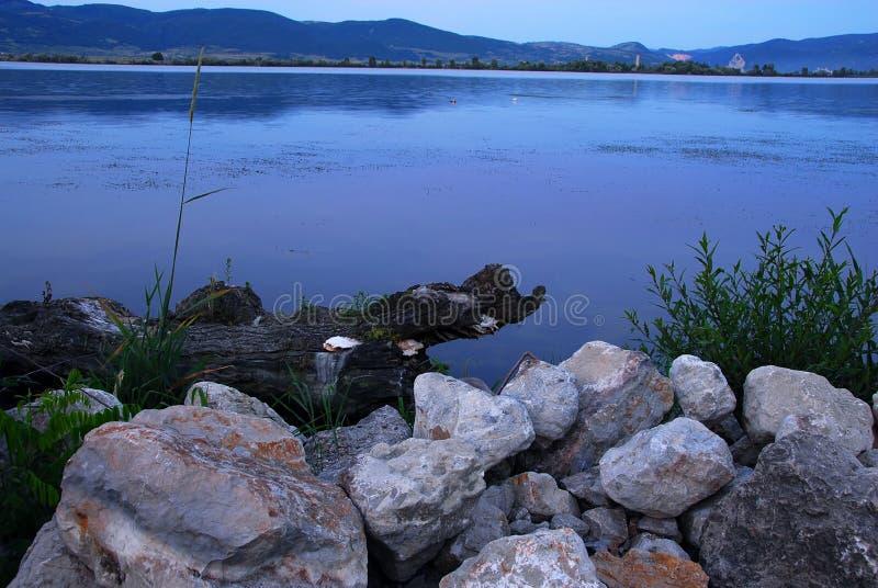 Blauwe avond riverbank royalty-vrije stock fotografie