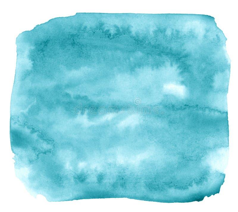 Blauwe azuurblauwe Waterverf een geïsoleerde vlek met scheidingen en grenzen Frame met exemplaarruimte royalty-vrije illustratie