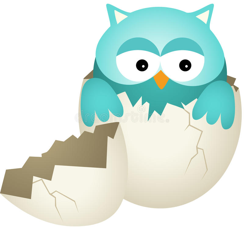 Blauwe Babyuil in Ei stock illustratie