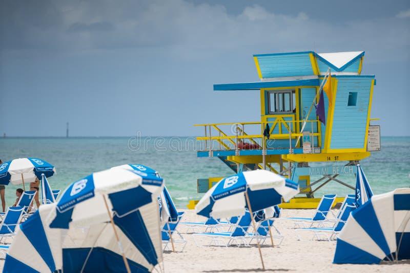 Blauwe badmeestertoren op het Strand FL van Miami royalty-vrije stock foto's