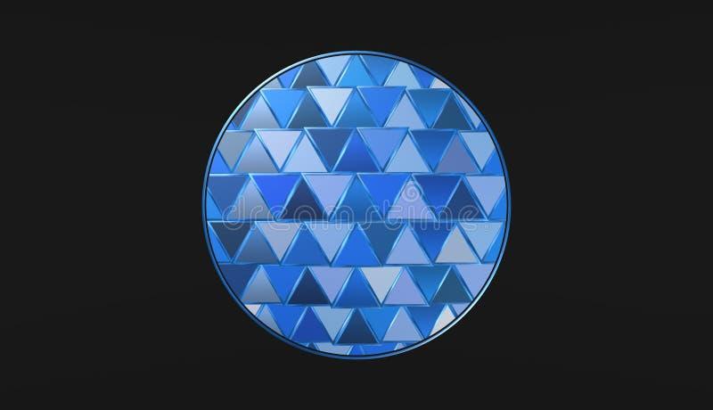 Blauwe bal op zwarte achtergrond, mooi behang, illustratie stock illustratie