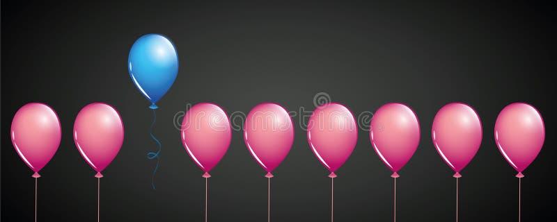 Blauwe ballonvlieg vanaf roze ballons op zwart verschillend conceptontwerp als achtergrond royalty-vrije illustratie