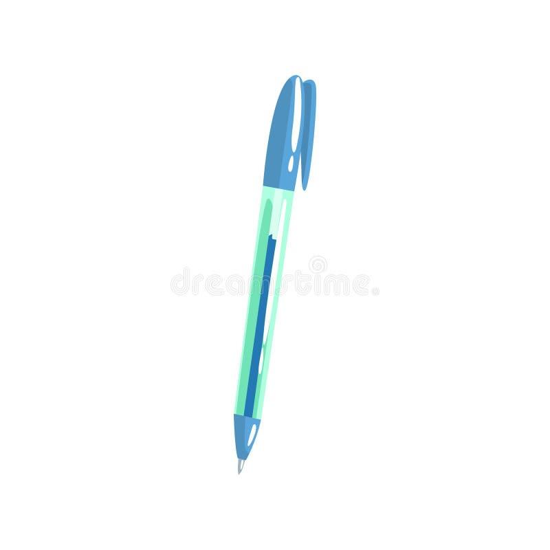 Blauwe ballpoint, het beeldverhaal vectorillustratie van het bureauhulpmiddel royalty-vrije illustratie