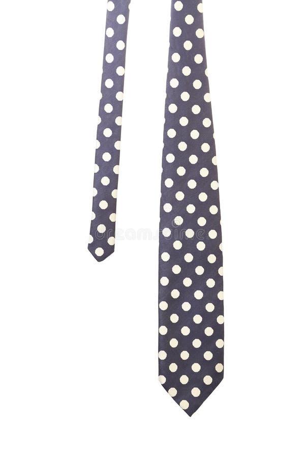 Blauwe band met witte polka stock afbeelding