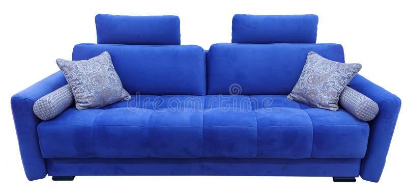 Blauwe Bank De zachte laag van de fluweelstof Klassieke moderne divan op geïsoleerde achtergrond stock afbeeldingen