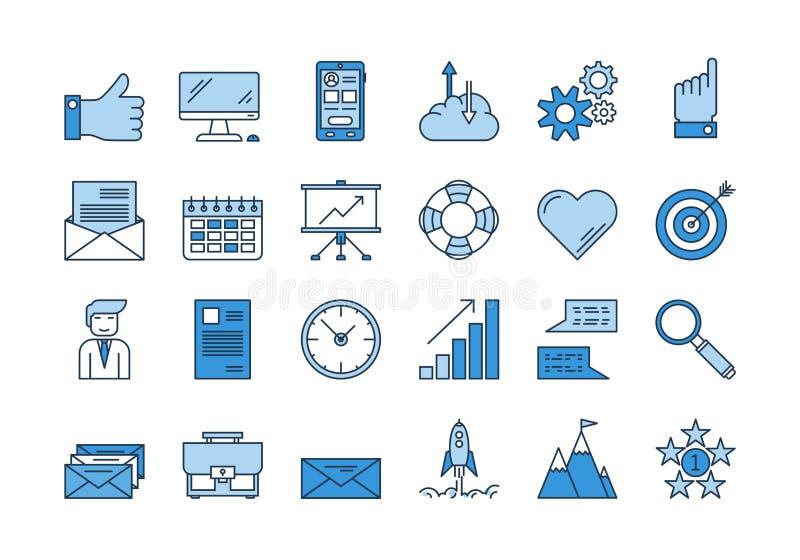 01 Blauwe BEDRIJFS geplaatste pictogrammen stock illustratie