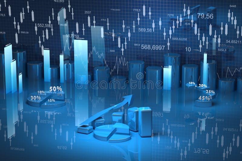 Bedrijfs financiëngrafiek, diagram, grafische bar, royalty-vrije illustratie