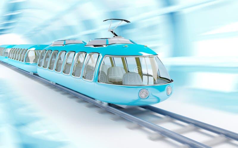 Blauwe beeldverhaal futuristische trein royalty-vrije illustratie