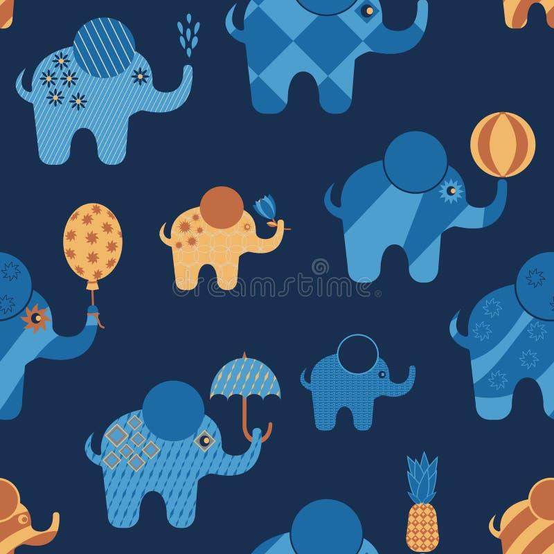 Download Blauwe Beeldverhaalolifanten Met Abstracte Geometrische Patronen Vector Illustratie - Illustratie bestaande uit beeldverhaal, grafisch: 114226825