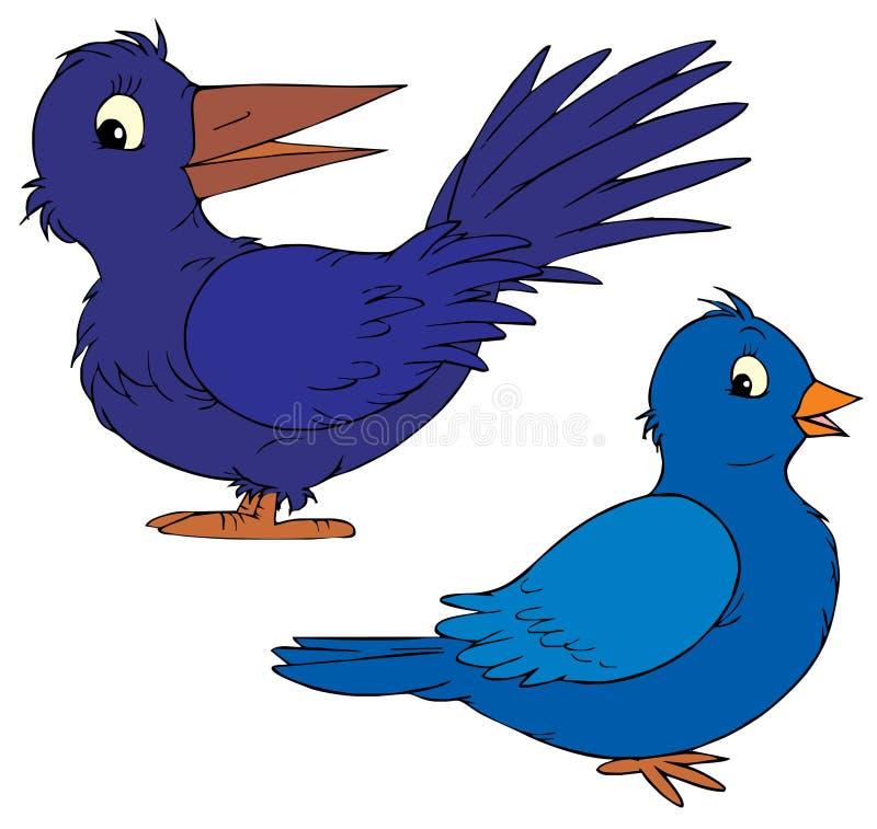 Blauwe beeldverhaalvogels royalty-vrije illustratie