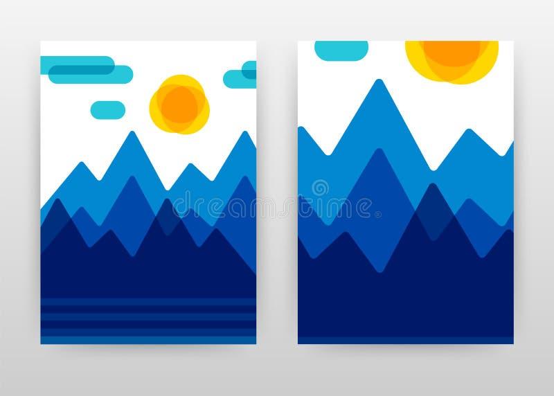 Blauwe bergen en geel zon bedrijfsontwerp voor jaarverslag, brochure, vlieger, affiche Mountans en zonlandschapsachtergrond stock illustratie