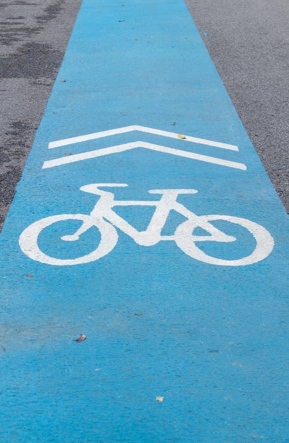 Blauwe bikelane royalty-vrije stock fotografie