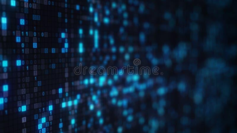 Blauwe binaire code digitale symbolen op het scherm stock illustratie