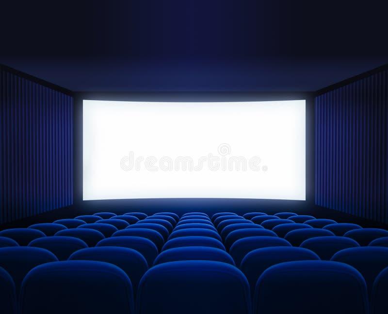 Blauwe bioskoop lege zaal met het lege scherm voor film royalty-vrije stock foto's