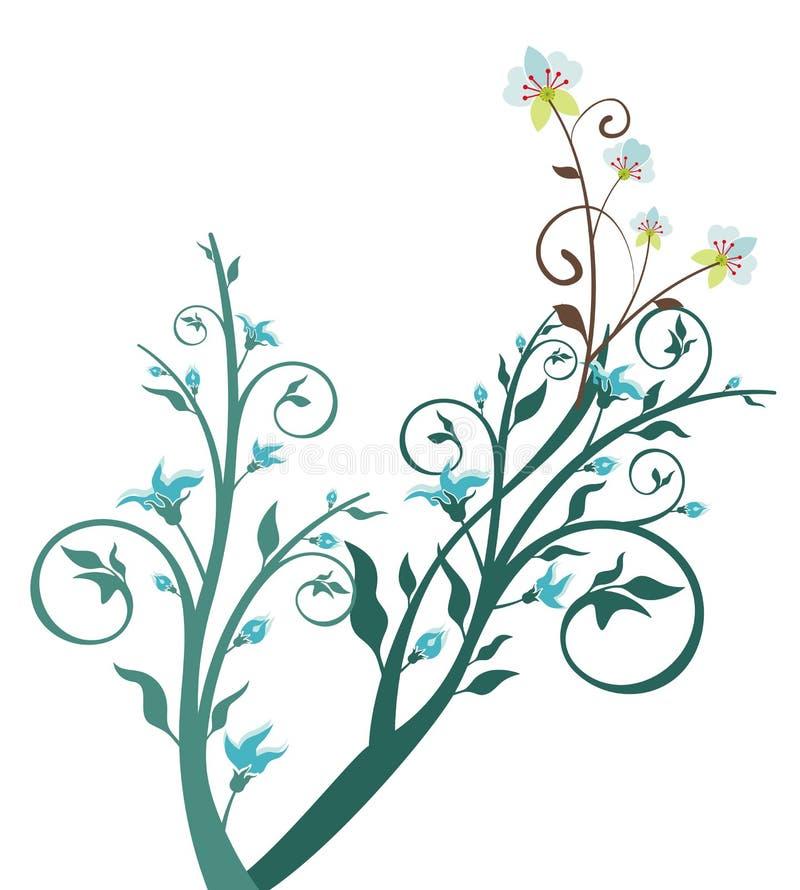 Blauwe bloem en boom stock illustratie